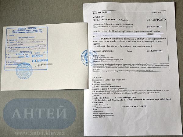 Легализация справки о несудимости в посольстве Италии